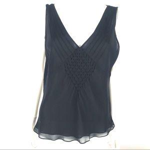 Ann Taylor Large Deep V Blouse Top Sleeveless Silk